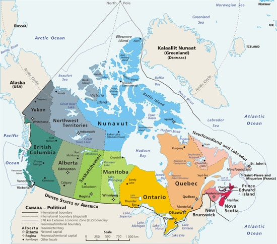 A large map of Canada - Canadian provinces and territories
